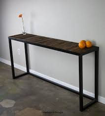 sofa table with reclaimed wood modern vintage console table