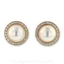 pearl and diamond earrings mabe pearl and diamond earrings