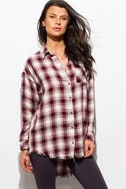 blouse button shop wine burgundy plaid print flannel sleeve frayed hem