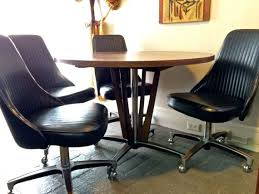 Chromcraft Furniture Kitchen Chair With Wheels 1966 Mid Century Modern Chromcraft Pedestal Dining Table 5 Black