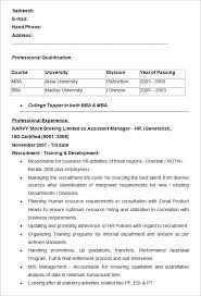 exles of hr resumes resume sle for hr fresher assistant manager hr resume exle