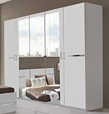 German Modern Furniture by Slumberhaus German Modern Davos White Chrome Mirror 6 Door 270cm