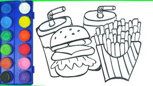 drawing fast food cheeseburger cheese stick fries drink coloring