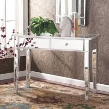 vanity table for living room hollywood regency mirrored console table vanity desk mirror glam