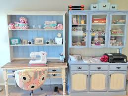 custom paint job on a sewing room hutch blackbird lane design
