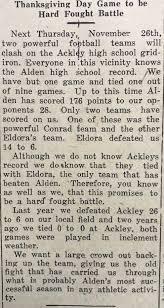 1930 alden times article thanksgiving day 1931 alden