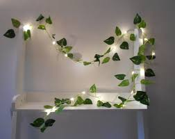 ivy leaf wire garland with mini led fairy string lights