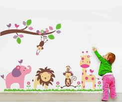 jungle wall decal nursery wall murals you ll love kids nursery jungle wall decal animals stickers