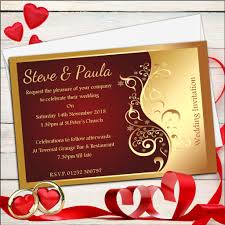 stag do invite 10 personalised red u0026 gold wedding invitations day evening n25