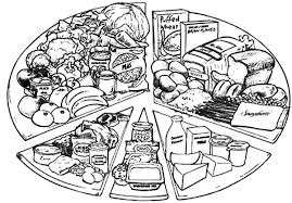 various types of healthy food and eating it colouring page