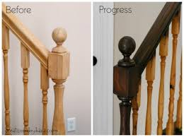 Stairway Banisters And Railings Diy Staircase Makeover With Stain And Paint