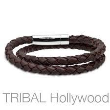 braided leather bracelet mens images Hula hula brown braided double wrap mens leather bracelet tribal jpg