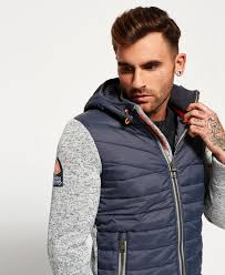 superdry storm hybrid zip hoodie superdry men hoodies grey grit