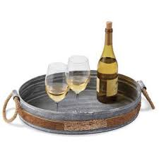 mud pie serving platters cork tin wine serving tray