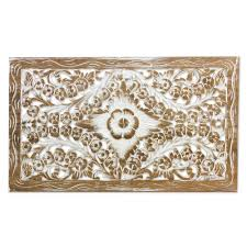 Whitewashed Wood Paneling Carved Whitewashed Teak Wood Relief Panel With Floral Motif