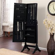Jewelry Full Length Mirror Armoire Heritage Jewelry Armoire Cheval Mirror High Gloss Black Hayneedle