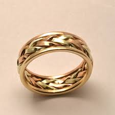 gold wedding bands braided in gold s large wedding band handmade in