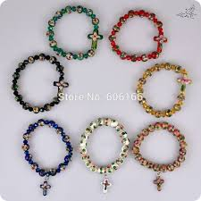 cross bracelet bead images 48pc lot cloisonne rosary beads bracelets sideways cross pendant jpg