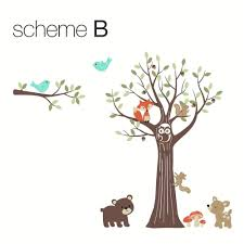 theme tree forest nursery wall decals tree with forest friends wall decal