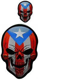 Puerto Rico Flag Puerto Rico Flag Skull Small And Large Patch Set Skull Patches