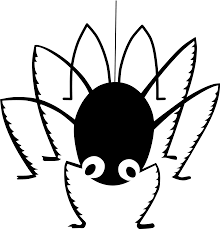 spider clipart black and white for kids