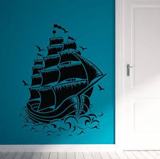 Home Decor Vinyl Wall Art by Nautical Sail Boat Pirate Ship Wall Decal Wall Stickers Room Home
