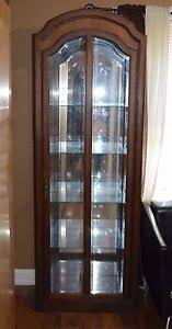pulaski oak china cabinet closet display curio beveled glass