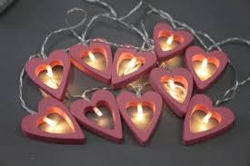 valentines lights 5 5ft valentines day heart shaped string lights wood 10 ct