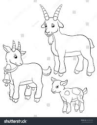 coloring pages farm animals goat family stock vector 442206184