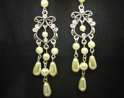 Vintage Pearl Chandelier Earrings Pearl Chandelier Etsy