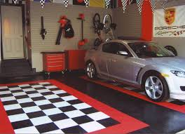 flooring red and black garage garage interior design ideas