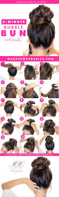 easy messy buns for shoulder length hair 3 minute bubble messy bun with braids easy lazy hairstyles