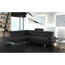canap d angle noir simili cuir meublesline canapé d angle stario en simili cuir noir avec têtière