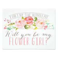 will you be my flower girl gift bridal party invitations announcements zazzle