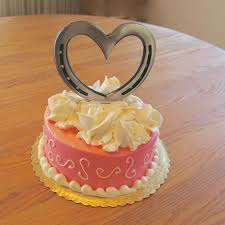 wedding cake topper real horseshoe heart can be engraved w date