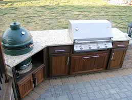 Bbq Outdoor Kitchen Islands Outdoor Kitchen With Green Egg And Gas Grill Outofhome