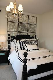 Black Four Poster Bed Frame Black And White Bedding Transitional Bedroom