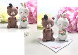 teddy bear and bunny rabbit wedding cake toppers felt base stand