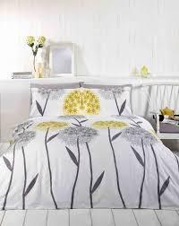 callium dandelion lemon yellow beige grey white duvet cover quilt
