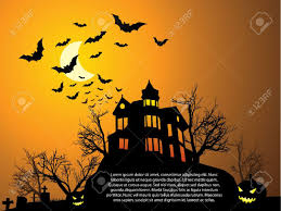 halloween with haunted house bats and pumpkin royalty free