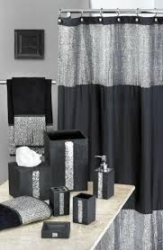 black white and silver bathroom ideas black and white shower curtains tile tub surround towels