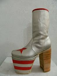 hand made men glam platform genuine silver leather boots 80s 70s