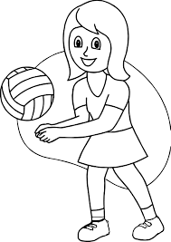 playing volleyball good coloring wecoloringpage