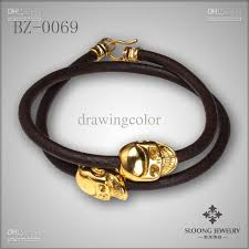 gold skull bracelet men images Men 39 s brown leather collection gold skull bracelet 2 wraps jpg