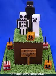 Enderman Halloween Costumes Minecraft Halloween Cake U2013 Grass Cube Skeleton Ghost Creeper