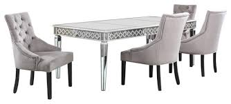 sophie silver mirrored dining room 5 piece set transitional