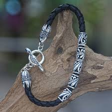 leather sterling bracelet images Men 39 s braided leather bracelet from indonesia glory novica jpg