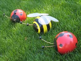 Bowling Ball Garden Art Wedeworks Bowling Ball Bumblebee And Ladybug