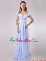 Light Blue Chiffon Dress New Deep V Neckline Chiffon Bridesmaid Dress In Baby Pink And