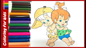 coloring for children to learn to color and paint this flintstones